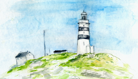 SEA  LANDSCAPE: Watercolor painting of landscape with lighthouse and small houses. Scandinavian scenery