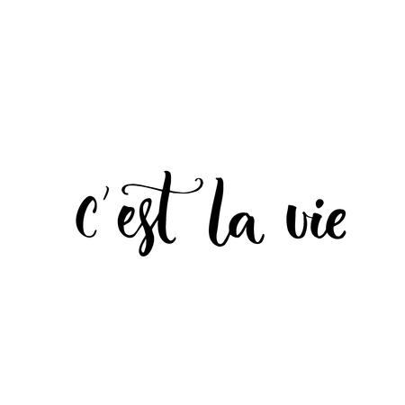 Dat is het leven. Franse uitdrukking betekent dat is het leven. Borstel letters offerte voor mode kleding en kaarten