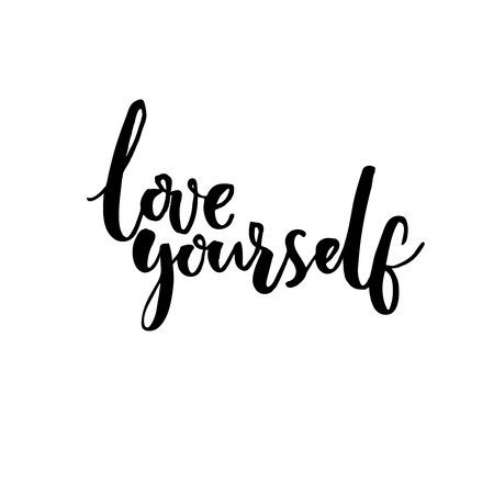 Love yourself. Psychology quote about self esteem. Brush lettering isolated on white background. Vettoriali