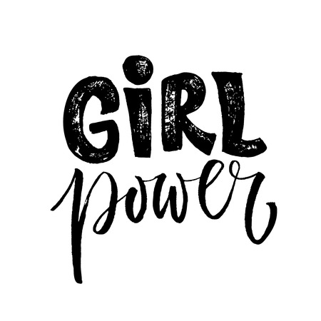Girl power. Feminism quote, woman motivational slogan. Feminist saying. Rough typography with brush lettering Vectores