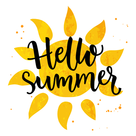 sunny beach: Hello summer banner. Typography poster with sun and lettering. Sunny design for beach party, summer collection clothes, social media content