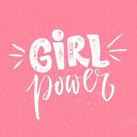 feminism: Girl power. Feminism quote, woman motivational slogan. Feminist saying. Rough typography with brush lettering Illustration