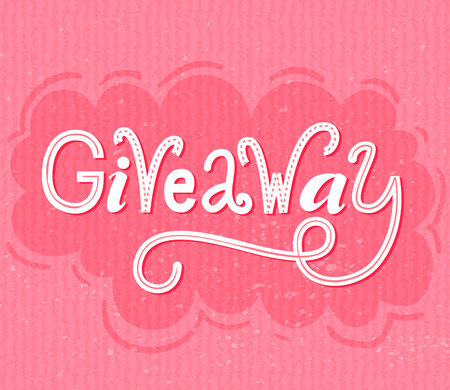 raffle: Giveaway banner. Raffle typography on pink grunge background. Social media contest design