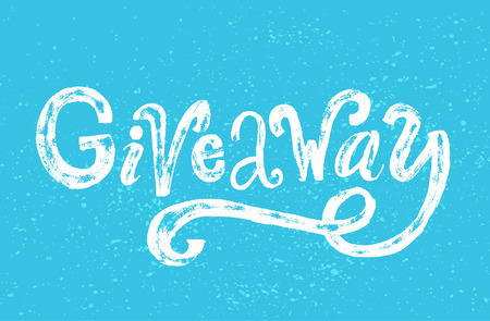 giveaway: Giveaway word. Custom rough typography  with grunge texture, White text on blue background. Ruffle banner