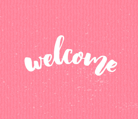 art blog: Welcome text on pink texture background. Handmade lettering, modern calligraphy style. Banner and sign for blogs, social media, advertisement.