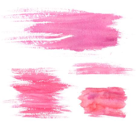 수채화 물감 얼룩. 핑크 스트로크와 오 점. 예술적 질감의 집합입니다. 스톡 콘텐츠