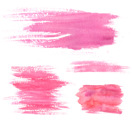 Watercolor paint stains. Pink strokes and blots. Set of artistic textures.