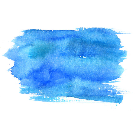 stain: Blue watercolor stain isolated on white background. Artistic paint texture. Stock Photo