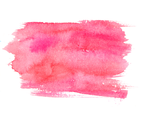 Pink watercolor stain isolated on white background. Artistic paint texture.