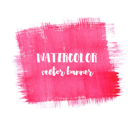 pink paint: Hand painted watercolor banner. Red and pink paint strokes, square shape. Vector paint texture