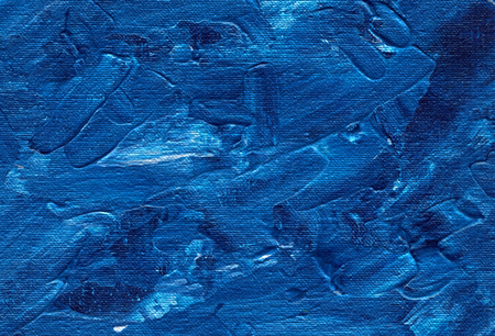 Abstract blue background with oil strokes on canvas texture. Acrylic horizontal backdrop. Stock Photo