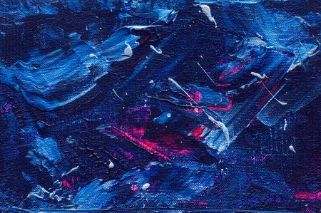 Peinture acrylique texture abstraite. couleurs de l'espace, mélange de bleu et violet. arrière-plan artistique inspiré Galaxy, toile de fond horizontal Banque d'images - 60316546