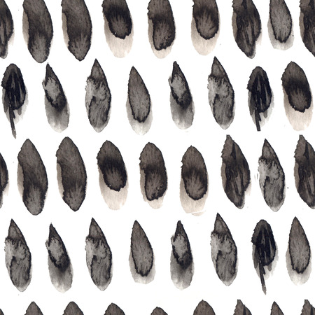Black and gray ink drops seamless pattern. Hand drawn texture with spots of paint, repeated tile for textile design