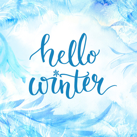 december: Hello winter banner with lettering, brush script at blue watercolor frosty background. Winter season cards, december greetings for social media.