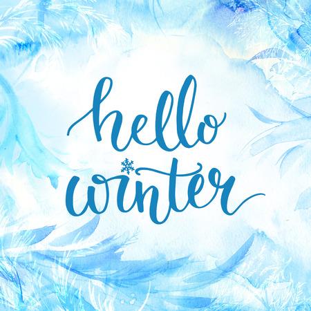 diciembre: Hola bandera del invierno con las letras, escritura del cepillo en acuarela azul helada de fondo. tarjetas de la temporada de invierno, los saludos de diciembre para los medios de comunicación social.