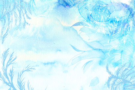 Winter watercolor background. Hand painted frozen frame with white copyspace. Frost texture