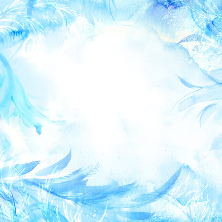 hoar frost: Winter watercolor background. Hand painted frozen frame with white copyspace. Frost texture