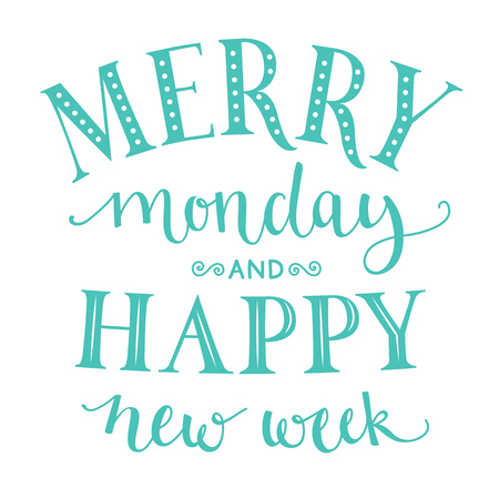 week: Merry monday and happy new week. Inspirational quote about week start for office posters and social media content. Typography design with calligraphy and lettering words. Pastel blue color