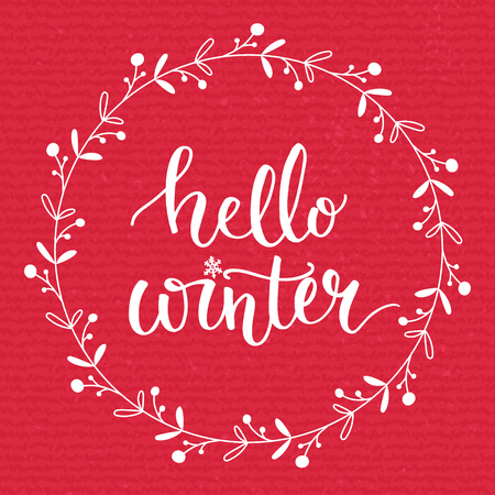 december background: Hello winter text on red knit texture background. Winter season cards, december typography  greetings for social media. Vector lettering Illustration