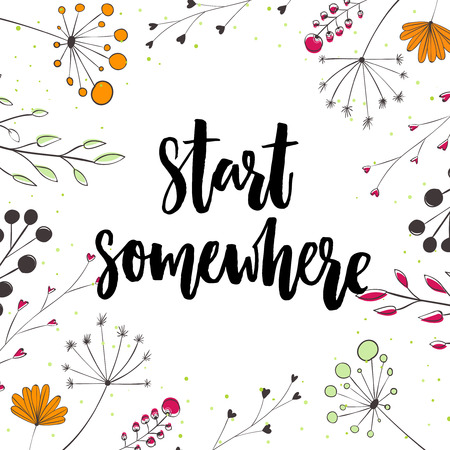 Start somewhere. Motivation saying in nature frame with twigs and flowers.