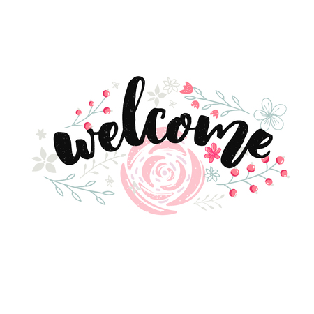 Welcome sign design with brush lettering and hand drawn pink flowers