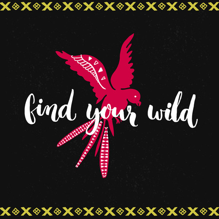 phrases: Find your wild. Brush lettering and hand drawn flying pink bird at dark background