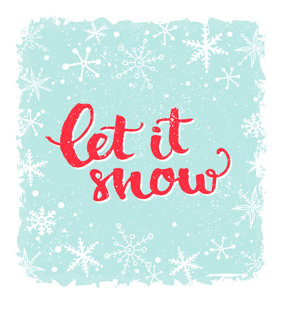let it snow: Let it snow. Inspirational winter quote, brush lettering at blue background with snowflakes. Red text for Christmas greeting cards Stock Photo