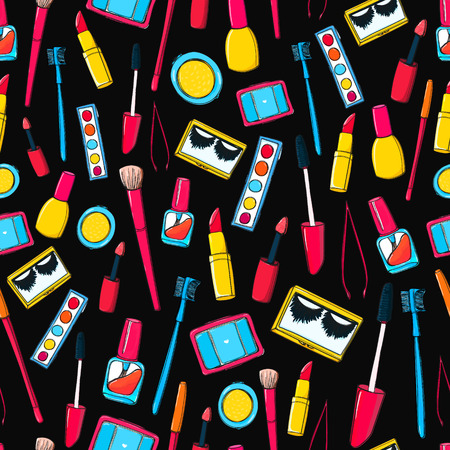 lashes: Makeup tools and bottles seamless pattern. Background with mascara, false lashes, lipstick and other cosmetics Stock Photo
