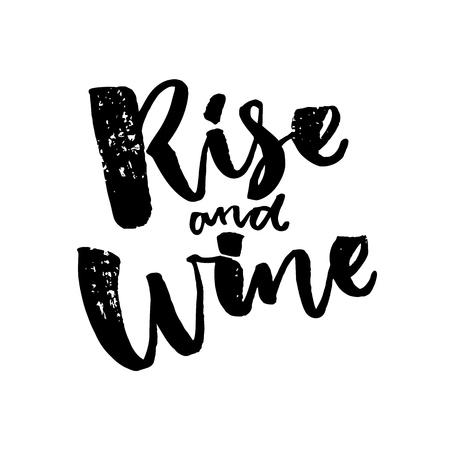 상승과 와인. 와인에 대한 재미있는 saiyng. 브러쉬 서예 견적