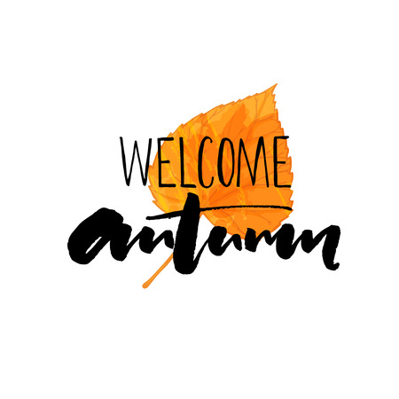 fall about: Welcome autumn typography on the orange leaf. Elegant brush calligraphy. Inspirational quote about fall