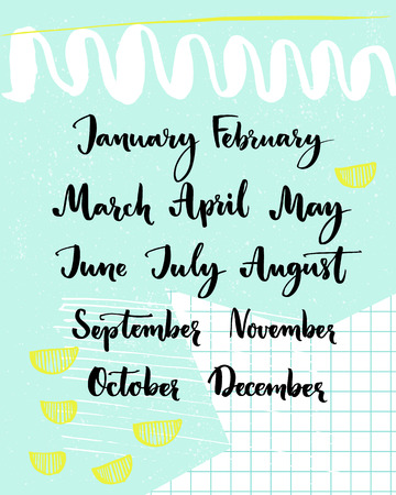 planners: Handwritten months of the year: December, January, February, March, April, May, June, July, August September October November Calligraphy words for calendars and planners