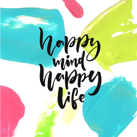 행복한 마음, 행복한 삶. 행복과 삶에 대한 긍정적 인 말. 브러쉬 문자 인용 디자인. 스톡 콘텐츠 - 61488905
