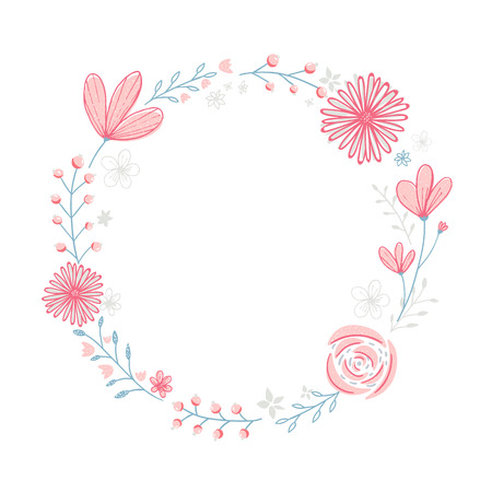 Floral wreath frame with copyspace. Hand drawn pastel pink flowers and branches