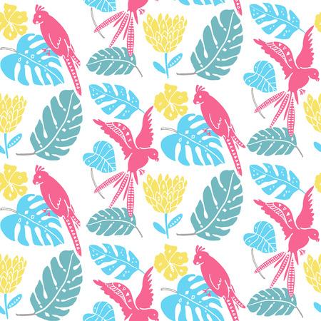 热带图案与手绘树叶,异国情调的花和鹦鹉。夏威夷无缝纹理,明亮的面料设计。向量夏天背景。