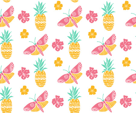 caribbean beach: Tropical pattern with pineapple, flowers and butterfly. Pink, yellow and mint colors, diagonal direction. Summer textile motif. Seamless texture.