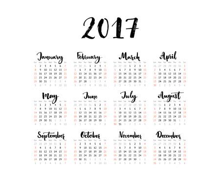 calendario noviembre: calendario minimalista de 2017 año. La semana comienza el domingo. Manuscrito meses. diseño blanco y negro simple de una hoja cuadriculada