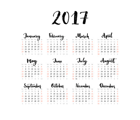 one sheet: Minimalistic calendar, 2017 year. Week starts Sunday. Handwritten months. Black and white simple design, one sheet grid