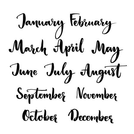 Handgeschreven maanden van het jaar: januari, februari, maart, april, mei, juni, juli, augustus, september oktober november december. Borstel letters woorden voor kalenders en organisatoren Stock Illustratie