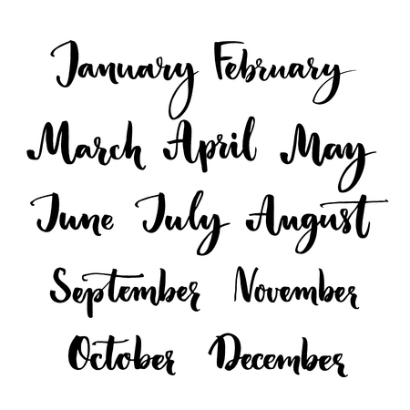 Handwritten months of the year: January, February, March, April, May, June, July, August, September October November December. Brush lettering words for calendars and organizers