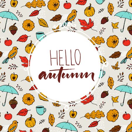 hi back: Hello autumn text in round frame on hand drawn fall background with umbrella, orange leaves and pumpkins