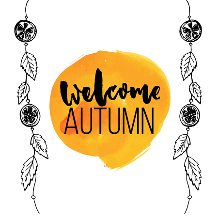 sign orange: Welcome autumn sign on orange watercolor stain and hanging garland decorations with orange slices and leaves. Hand drawn sketch vector illustrations