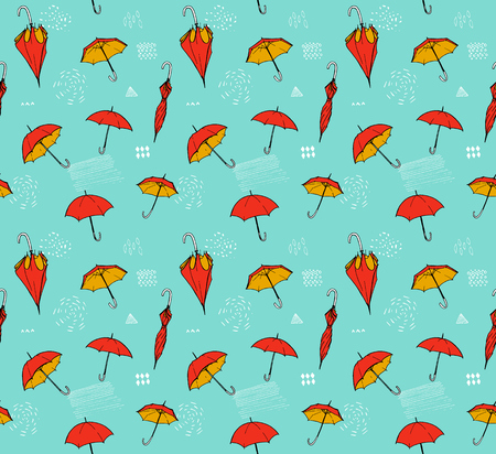 ilustrations: Umbrella pattern. Vector seamless texture with hand drawn ilustrations of open and closed umbrellas at blue background Illustration