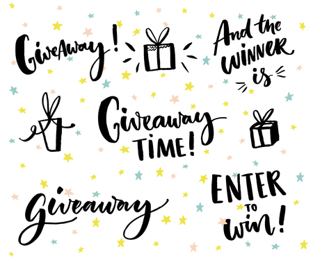 Giveaway text and design elements. Set of handwritten lettering and hand drawn gifts. Social media contest typography. Give away time, enter to win, end the winner is Ilustração