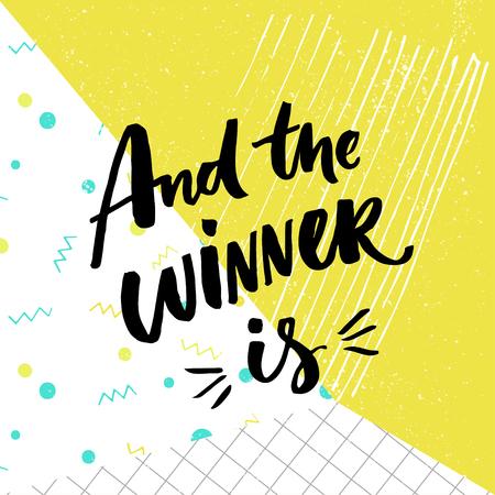 Y el ganador es. bandera regalo para los concursos de medios sociales. letras cepillo en el fondo abstracto pop lúdico y colorido con papel cuadriculado, verde, azul y blanco