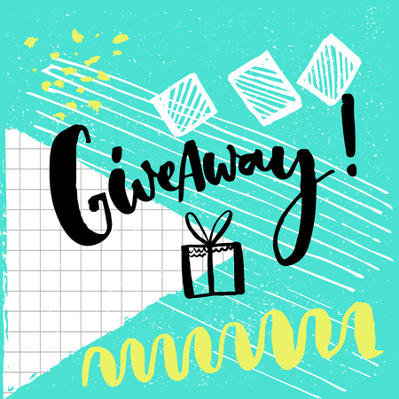 freebie: Giveaway word and hand drawn illustration of gift box for social media contests. Brush lettering at playful and colorful pop abstract background with squared paper, green, blue and white