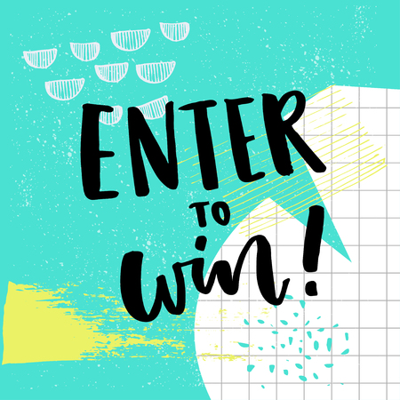 hooray: Enter to win text for giveaway. Social media contest vector banner with colorful abstract background