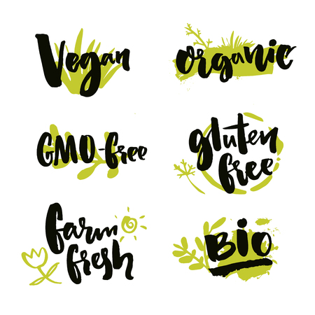 vegan: Set of hand drawn stickers for natural products and food package. Vector brush lettering on green spots. Vegan badge, GMO free, farm fresh label. Gluten free and Bio product