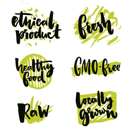 ethical: Natural elements for organic food and beverage. Gmo free and locally grown signs. Rough typography on green splotches. Raw and ethical product stickers. Vector symbols
