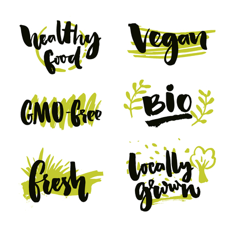 hundred: Set of organic food stickers. Vector labels for bio products. GMO-free sign, locally grown, healthy food symbol Illustration