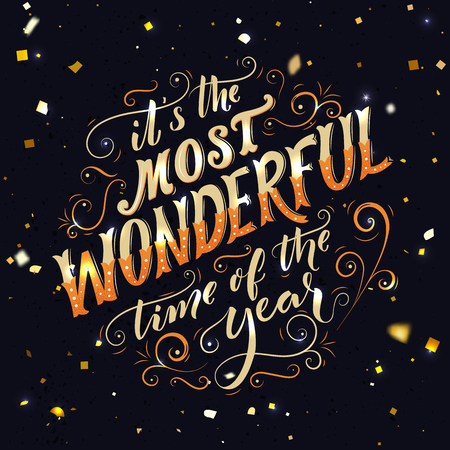 It's the most wonderful time of the year. Hand lettering and script calligraphy with florishes. Winter season saying. Typography greeting card with gold text. Vectores
